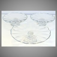 Set of 3 Cut Crystal Cake Dessert Serving Footed Stands
