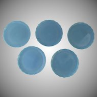Set of 5 Blue Opaline Shallow Bowls Plates