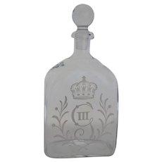 Vintage Etched Crown Pattern Decanter