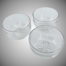 19th Century Etched Glass Finger Bowls, Set of 3