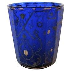 19th Century Cobalt Bohemian Paneled Glass Gilt Tumbler Glass