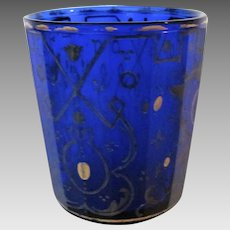 19th Century Cobalt Bohemian Paneled Glass Gilt Tumbler Glass