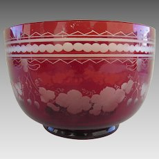Bohemian Red White Cut Grape Motif Glass Finger Bowl c 1900