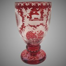 19th Century Bohemian Red Cut to Clear Glass Goblet Wine Stag Castle