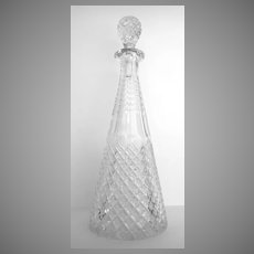 Tall Faceted Cut Crystal Wine Decanter Pyramid Shape