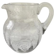 19th Century Etched Glass Water Pitcher with Applied Handle