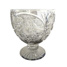 European Cut Glass Crystal Grand Footed Goblet