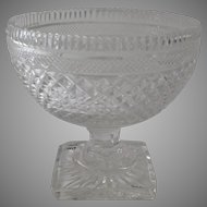 19th Century Diamond Cut Crystal Small Footed Compote Anglo Irish