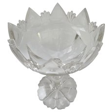 19th Century English Georgian Flint Glass Compote Bowl Centerpiece Footed Pedestal