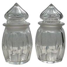 Pair of Lidded Pickle Jars Panelled Sides c 1860