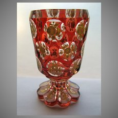 Bohemian Cut Glass Goblet with Red cut to Clear Flower Motif Shaped Foot
