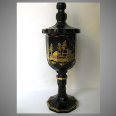 Bohemian Cut Glass Goblet or Sweet Meat Dish Gilt Decoration