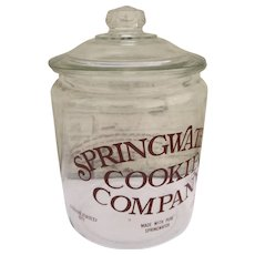 Vintage Springwater Cookie Company Cookie Jar 2 Gallon Size Store Counter Display Advertising