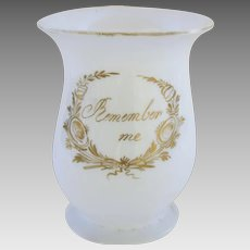 "Victorian Hand Blown Milk Glass Tankard Mug with ""Remember Me"" Message"