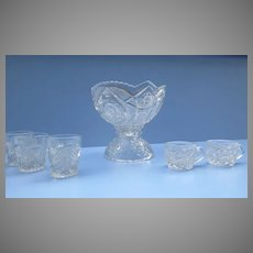 Child's Pressed Glass Punch Bowl Set