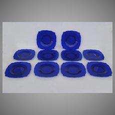 Set of 10 Empress Colbalt Square Plates 1930's