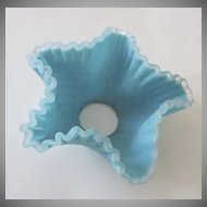 Satin Glass Ruffle Edge Blue Bobeche c 1890