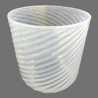Late 19th Century Ribbed Swirled Opaline Glass Lamp Shade Globe