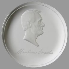 Vintage Crystal Slab Edge Etched Paperweight Abraham Lincoln