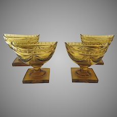 Set of Four (4) Anglo Irish Footed Compotes c 1810 Early 19th Century Canary Yellow Amber