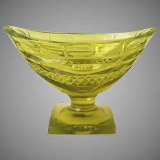 Anglo Irish Footed Small Compote Master Salt c 1810 Early 19th Century Canary Yellow Amber