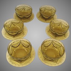 Set of 6 Anglo Irish Cut Crystal Canary Yellow Finger Bowls and Underplates Early 19th Century
