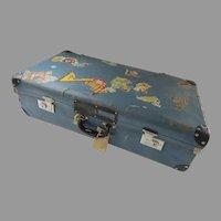 Vintage Blue Suitcase Many Travel Labels  1950's Prop