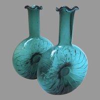 Vintage Green Glass Sunflower Vases, Pair