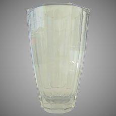 """Vintage Large Clean Slab Lines Crystal 9"""" Vase"""