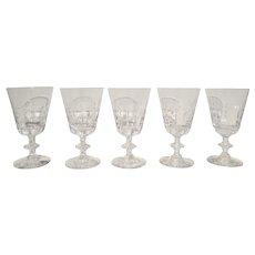 "Vintage Cut Crystal Water Goblets/Glasses Stemware Fostoria ""Williamsburg"", Set of 5"