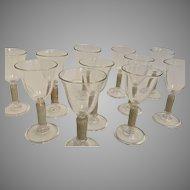 Vintage Venetian Liqueur Glasses (Set of 12) Hand-blown Stemware