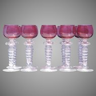 Set of Ten Venetian Stemware Clear and Ruby Glass