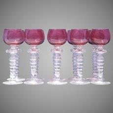 Set of Ten Venetian Stemware Clear and Ruby Glass