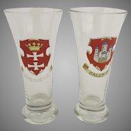 Vintage Pilsner Beer Glasses Salzburg and Danzig Germany Town Crests