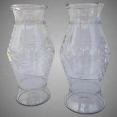 Pair Monumental Tall Etched Glass Vases Hurricane Shape Grape Motif c 1880