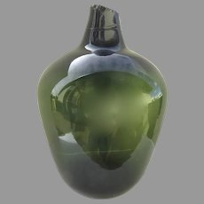 French 19th Century Blown Green Demi John Bottle