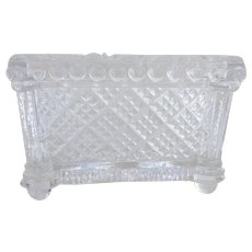 Sandwich Glass Open Salt 19th Century, Waffle Diamond Pattern