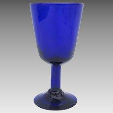 Cobalt Blue Glass Hand Blown Goblet Wine Glass
