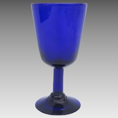 Cobalt Blue Glass Hand Blown Goblet Wine Glass