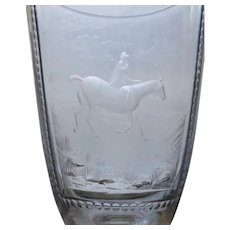 """Vintage Large 9"""" Bohemian Etched Glass Goblet Horse Fox Hunting Scene Equestrian"""