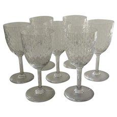 7 x Baccarat Wine Glasses Atems Pattern of Paris