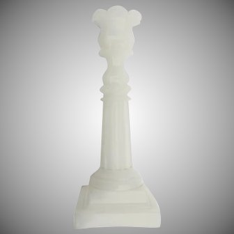 """19th Century Vintage Sandwich Glass Candleholder Opaque White 9 1/4"""""""