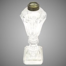 Late 19th Century Sandwich Glass Whale Oil Lamp 10 3/4""