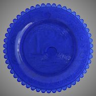 "19th Century ""Lafayette"" Cup Plate Blue Sandwich Glass Small"