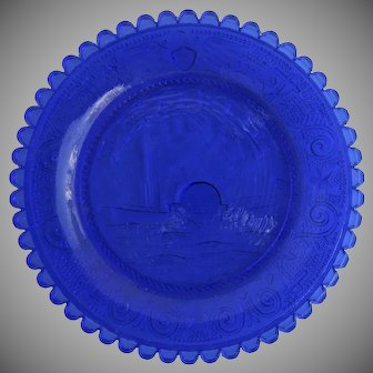 """19th Century """"Lafayette"""" Cup Plate Blue Sandwich Glass Small"""