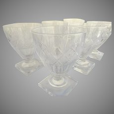 19Th Century Anglo Irish Cut Glass Rummers/Stemware Pedestal Base Set of 6