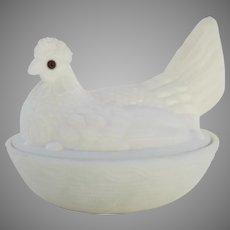 Vintage Large White Milk Glass Hen on Basket Glass Eyes