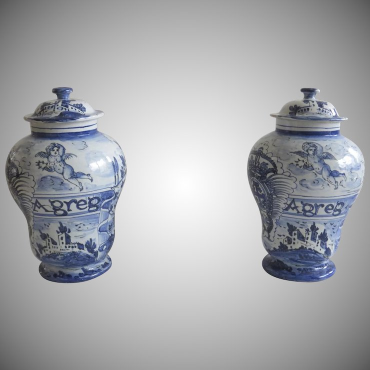 Pair Of Vintage Italian Italy Large Urns Jars Vases With Lids Blue