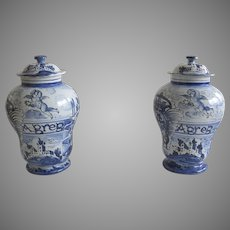 Pair of Vintage Italian Italy  Large Urns Jars Vases with Lids Blue and White Faience Cherubs Putti Angels
