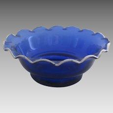 Cobalt Blue Salt French 19th Century Fluted Enamel Edge